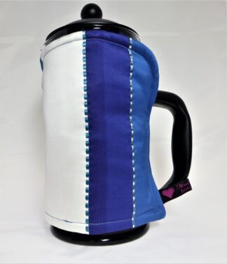 blue striped 8 cup cafetiere cosy