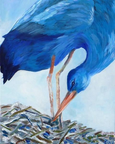 blue heron acrylic on canvas