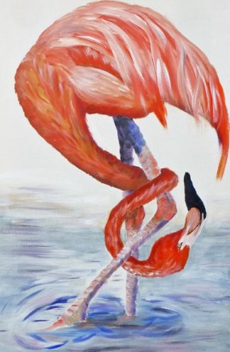 Flamingo checking acrylic