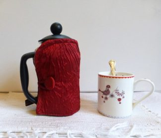 red rippled satin cafetiere cover