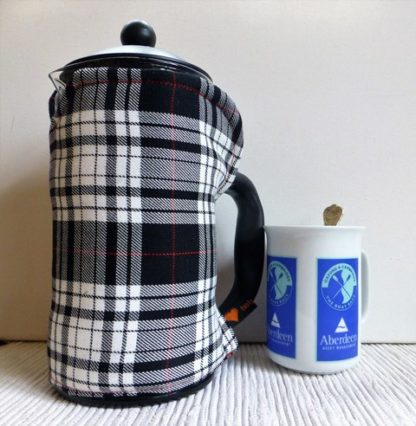 black and white tartan cafetiere cover
