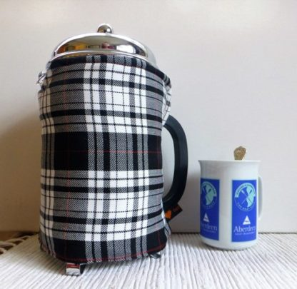 black and white tartan 12 cup french press cover