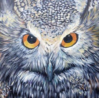 Siberian Eagle Owl painting