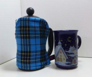 Bright Blue Tartan 3 cup cosy