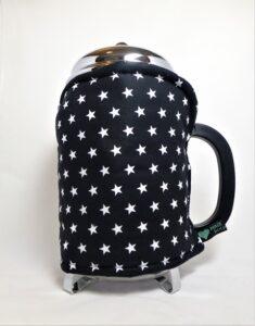 White stars on black. 12 cup